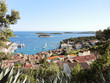 above view of town on Hvar island in Croatia