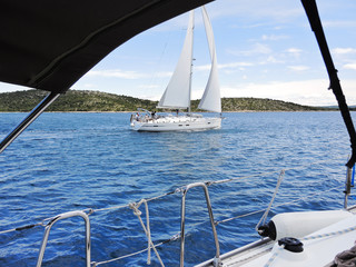 yachting in Adriatic sea, Dalmatia, Croatia