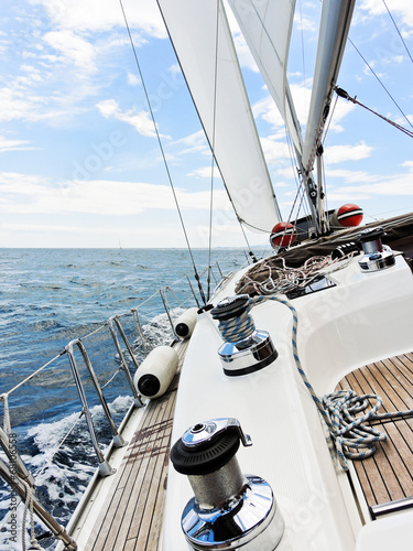 yacht is tacking in Adriatic sea, - 68106558