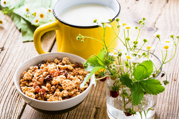 Homemade granola and cup of milk