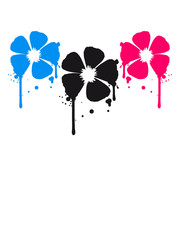 3 Blumen Blut Tropfen Party Graffiti Design