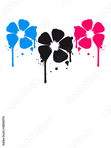 canvas print picture 3 Blumen Blut Tropfen Party Graffiti Design