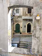 patio of houses in center of Catania, Italy