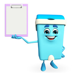 Dustbin Character with notepad