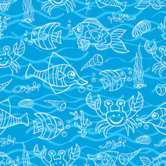 Sea Life Doodle seamless pattern
