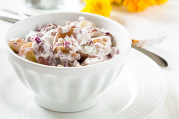 Potato salad made with  boiled baby potatoes