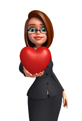 Young Business Woman with heart