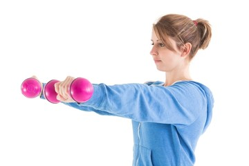 Young woman exercising with dumbbells