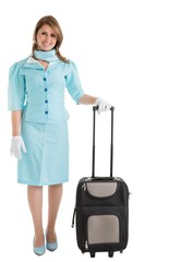 Portrait of stewardess in blue uniform with her bag