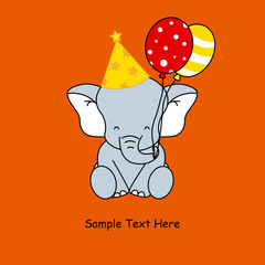 Greeting card. Elephant birthday