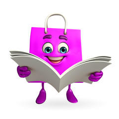 Shopping bag character is reading