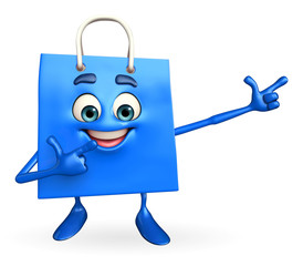 Shopping bag character is pointing