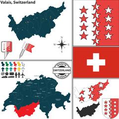 Map of Valais, Switzerland