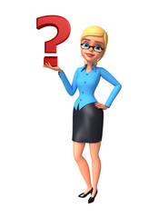 Young office girl with question mark