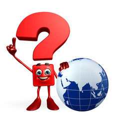 Question Mark character with globe