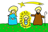 Childlike drawing of the Holy Family poster
