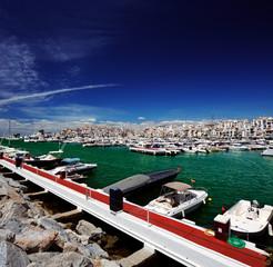Luxury yachts and motor boats in Puerto Banus in Marbella, Spain