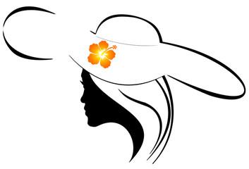 silhouette de jeune femme au chapeau fleuri