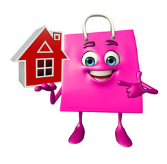 Shopping bag character with home
