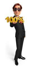 Young Business Man with percentage