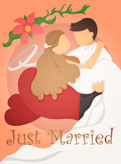 Just married wedding invitation card design
