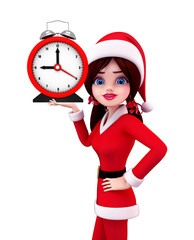 Santa Girl Character with table clock