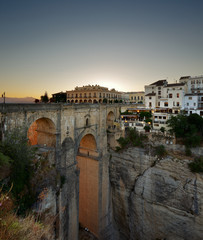 New Bridge in the village of Ronda in Andalusia Spain at evening
