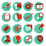 Vector digital marketing icons in flat style