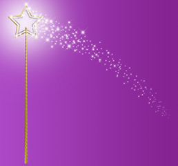 Gold And Silver Magic Wand With Sparkles