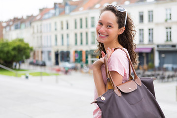 Woman going to shopping in the city