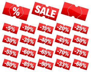 Price Tags Set Minus Red Angled Divided Sale