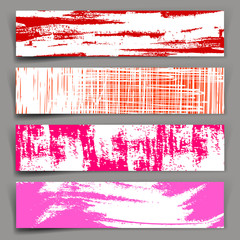 Abstract vector background. Set of vector banners with red, pink