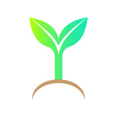 Bio icon. Vector design element. Symbol of green sprout  with le