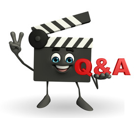 Clapper Board Character with Q & A sign