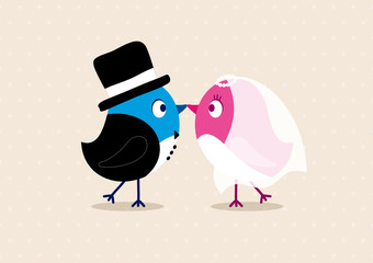 Wedding Couple Birds Beige