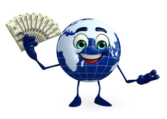 Globe Character with dollars