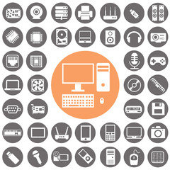 Computer and Computer accessories icon set