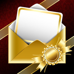 Golden gift envelope with text card, bands and a ribbon. Vector