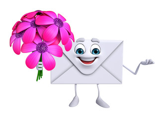 Mail Character with flowers