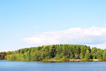 Russian nature. Autumn. View of the Volga river. Blue sky.