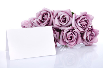 blank card with purple flowers