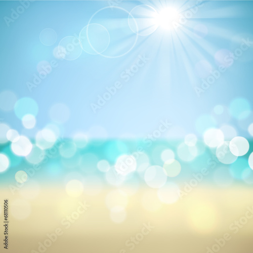 Summer holiday tropical beach background poster