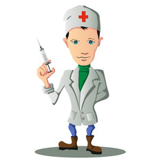 Illustration of young doctor holding a syringe