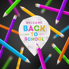 Back to school - paper map poiner with greeting and pencils