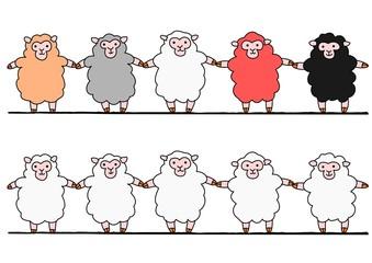 手をつなぐ羊たち