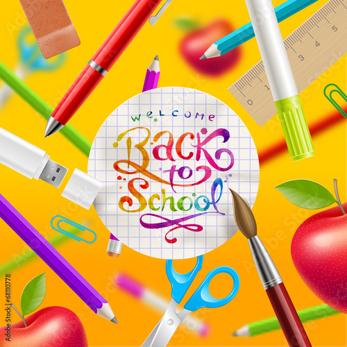 Back to school - illustration with lettering and stationery