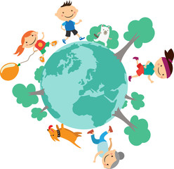 Illustration of happy people running around the globe