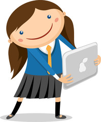 Illustration of a girl with the touchpad