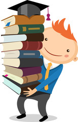 illustration of a boy with a big stack of books