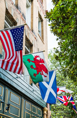 American and United Kingdom Flags on Pub
